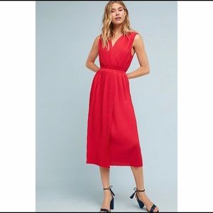 Anthropologie | TracyReese Red Pleated Midi Dress